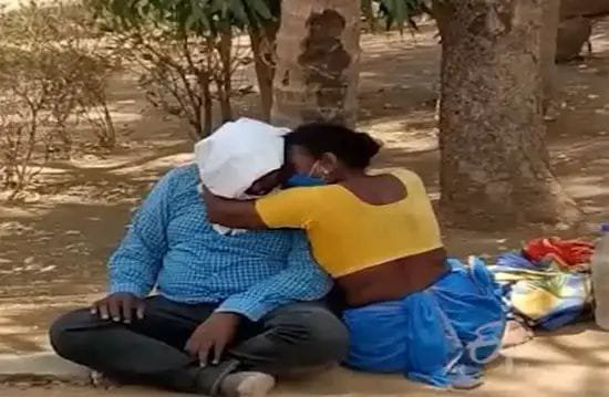 Mother crying for losing her son