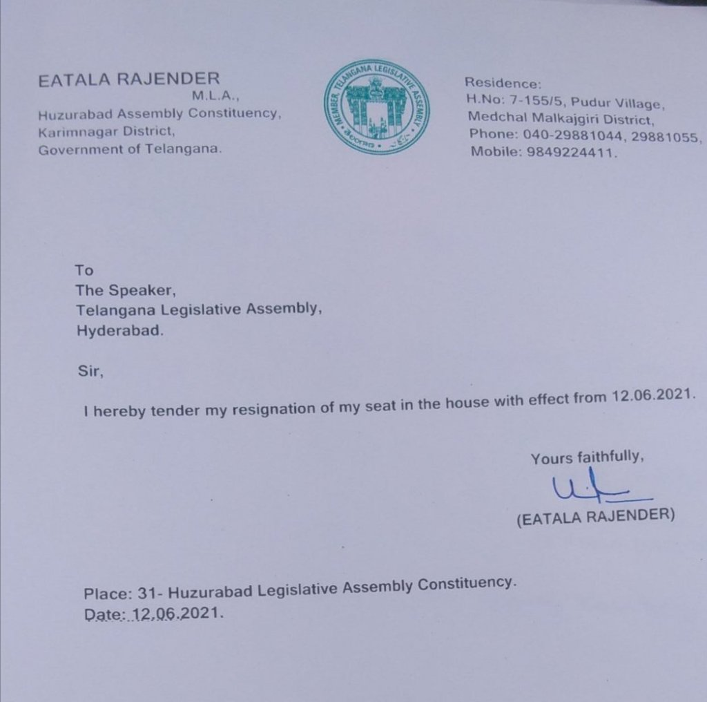 Kcr, eatala rajendhar, trs, resignation letter